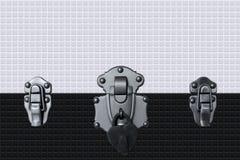 cerradura del corazón en la pared brillante blanco y negro de la teja Textura inconsútil Foto de archivo