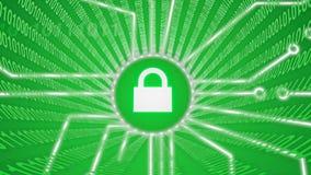 Cerradura del verde de la seguridad de Internet Foto de archivo libre de regalías