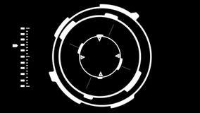 Cerradura futurista de la ciencia ficción en el francotirador Target HUD en un fondo negro ilustración del vector