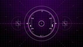 Cerradura gráfica de la blanco de radar en la pantalla del control del interfaz o de piloto automático con la escala de los númer stock de ilustración