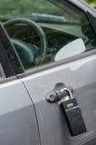 Cerradura grande en una puerta de coche Imágenes de archivo libres de regalías