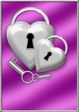 Cerradura metálica de los corazones Foto de archivo