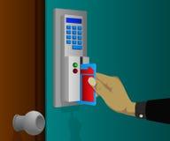 Cerraduras de puerta electrónicas con las tarjetas del golpe fuerte Imágenes de archivo libres de regalías