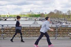 Cerraduras del amor en un puente en París Imagen de archivo