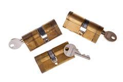 Cerraduras y llaves de puerta Imagen de archivo libre de regalías