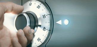Cerrando o desbloqueando una caja de depósito seguro Imágenes de archivo libres de regalías