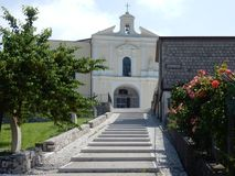 Cerreto Sannita - Staircase of the sanctuary. Cerreto Sannita, Benevento, Campania, Italy - 1 June 2018: The long staircase leading to the entrance of the Stock Photography