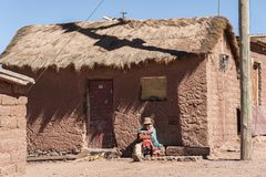 CERRILLOS - BOLIVIA, AUGUST 10, 2017: Unidentified Woman In Cerrillos Village On Bolivian Altiplano Royalty Free Stock Images