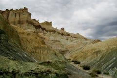 Cerro Alcazar rotsvormingen in Argentinië Stock Foto