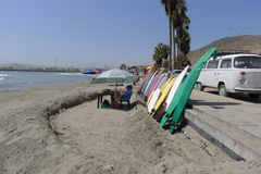Cerro Azul beach resort surfboards at south of Lima Stock Image