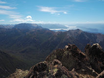 Cerro Catedral, panorama mountaintop. Argentinian mountaintop view, beautiful mountain creast and blue sky Royalty Free Stock Photo