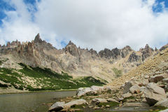 Cerro Catedral rocky peaks above the lake Royalty Free Stock Image