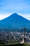 Cerro de la Cruz and Agua volcano. Antigua Guatemala stock image