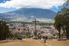Cerro De Los angeles Cruz, Antigua, Gwatemala Obraz Stock