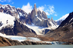 Cerro Fitz Roy Argentina aka the smoking mountain. The Fitz Roy Range, glacier and lake near El Chalten, Patagonia, Argentina Stock Images