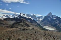 Cerro Fitz Roy & Laguna De Los Tres Fotografia Stock