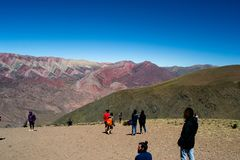 Cerro Hornocal, Argentina `the 14 colors mountain` stock image