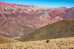 Cerro Hornocal, Jujuy, Argentina :14 colours mountain in North Argentina royalty free stock photo