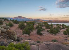 Cerro Pedernal at Abiquiu Lake in New Mexico. Cerro Pedernal, a prominent feature of the landscape near Abiquiu Lake, is a narrow, flat-topped mountain in stock photography
