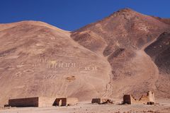 Cerro Pintados geoglyphs. In Pampa del Tamarugal National Reserve in the Atacama Desert of northern Chile east of Iquique Royalty Free Stock Images
