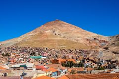 Cerro Rico mountais in Potosi, Bolivia. Biggest silver mine in the history royalty free stock images