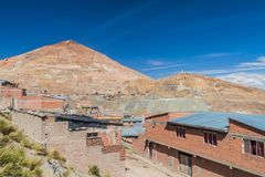 Cerro Rico Rich Mountain in Potosi stock afbeelding