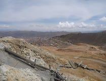 Cerro ricoheuvel met zilveren mijnen in Potosi Stock Foto