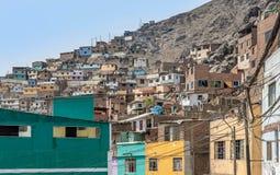 Cerro San Cristobal krottenwijk in Lima, Peru royalty-vrije stock afbeelding