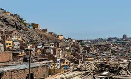 Cerro San Cristobal krottenwijk in Lima, Peru royalty-vrije stock foto's
