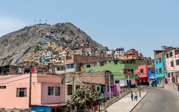 Cerro San Cristobal slum in Lima, Peru. Lima, Peru- March 12, 2017:Cerro San Cristobal slum in Lima, Peru royalty free stock images