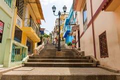 Cerro Santa Ana Guayaquil Ecuador. Guayaquil, Ecuador - April 16, 2016: Houses and the stgairs at Cerro Santa Ana, a touristic attraction of Guayaquil, Ecuador royalty free stock image