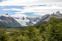 Cerro Torre covered in clouds in Patagonia - El Chalten, Argentina royalty free stock photography