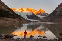 Cerro Torre. Famous beautiful peak Cerro Torre in Patagonia mountains, Argentina. Beautiful mountains landscapes in South America royalty free stock photos