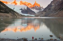 Cerro Torre. Famous beautiful peak Cerro Torre in Patagonia mountains, Argentina. Beautiful mountains landscapes in South America stock images