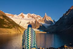 Cerro Torre. Famous beautiful peak Cerro Torre in Patagonia mountains, Argentina. Beautiful mountains landscapes in South America royalty free stock photography