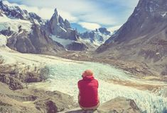 Cerro Torre. Famous beautiful peak Cerro Torre in Patagonia mountains, Argentina. Beautiful mountains landscapes in South America stock image