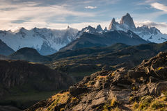Cerro Torre and Fitz Roy panorama in Southern Patagonia Royalty Free Stock Image