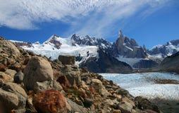 Cerro Torre. And Glacier Grande in Los Glaciares National Park, Argentina Stock Photos