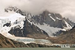 Cerro Torre. Glacier Lake Cloud Royalty Free Stock Photo