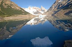 Cerro Torre from lake Laguna Torre royalty free stock image