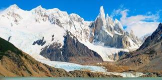 Cerro Torre mountain in Patagonia, Argentina. Cerro Terro mountain panorama in Los Glaciares National Park, Patagonia, Argentina stock images