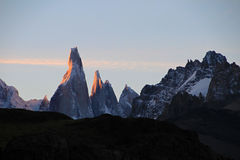Cerro Torre mountainline at sunset, Patagonia, Argentina Stock Photography