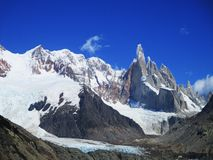 Mount Torre View from Laguna Torre, Santa Cruz Argentina. Cerro Torre is one of the mountains of the Southern Patagonian Ice Field in South America. It is royalty free stock photo