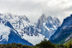 Cerro Torre Peaks, El Chalten, Argentina. The view of the peaks, Cerro Torre Walk, El Chalten, Patagonia, Argentina royalty free stock photography