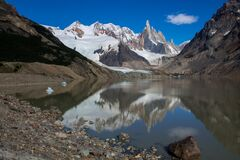 Cerro Torre peaks and lake laguna Torre in Argentina Patagonia without tourists