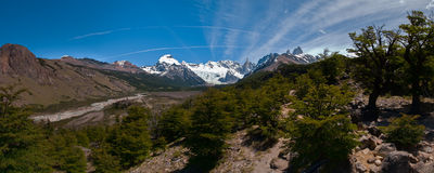 Cerro Torre from trekking road heading to the base camp Royalty Free Stock Images