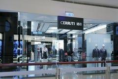 Cerruti 1881男服商店在台北101购物的区 库存照片
