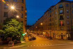 Certain part of Gothenburg city in late night. GOTHENBURG, SWEDEN - July 8, 2018 : Certain part of Gothenburg city in late night stock photo