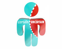 Certain Vs Uncertain Sure Unsure Confidence Doubt Torn Person Wo Royalty Free Stock Images