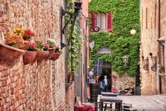 Certaldo Alto. A street in the italian city of Certaldo Alto Stock Images